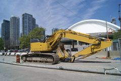 Road work vehicle. hydraulic excavator. road work digger Stock Photos