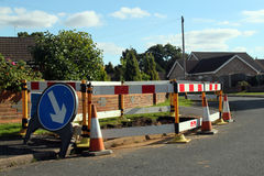 Road work warning signs and barriers. Royalty Free Stock Photo