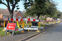 Road work warning signs and barriers. Royalty Free Stock Images