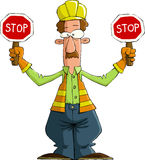 Road worker. On a white background, vector Stock Photos