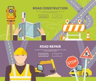 Road Worker Banner Stock Image