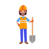 Road worker builder with shovel vector illustration. Royalty Free Stock Image