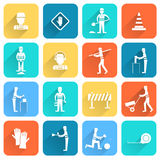 Road worker flat icon Royalty Free Stock Images