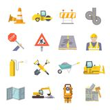 Road Worker Flat Icons Set Royalty Free Stock Images