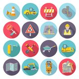 Road Worker Flat Icons. Set with street repairing tools and warning signs isolated vector illustration royalty free illustration