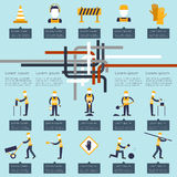 Road worker infographic Royalty Free Stock Image