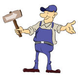 Road worker with pointer Royalty Free Stock Images