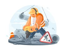 Road worker with puncher. Road worker wearing in helmet with puncher. Construction works. Vector illustration vector illustration