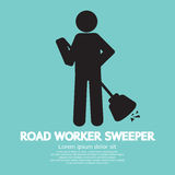 Road Worker Sweeper Royalty Free Stock Image