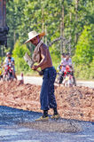 Road workers. Workers are repairing road royalty free stock photo