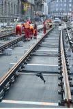 Road workers repair the tram line in Prague Stock Photography