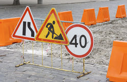 Road works. Covering is  temporarily removed Royalty Free Stock Photo