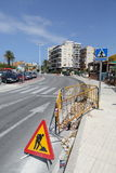 Road Works. Being carried out in Javea, Spain Stock Photo