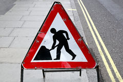 Road works. Warning traffic sign at street stock images
