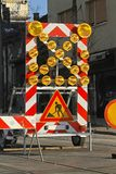 Road works. Construction traffic signs and lights stock photo