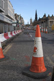 Road Works. Edinburgh's main shopping street - Princes St - crippled by road works for installing tram lines. Work is scheduled to last until 2011 stock image