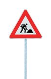 Road Works Ahead Warning Road Sign Pole isolated. Road Works Ahead Warning Road Sign With Pole,  isolated under construction concept Royalty Free Stock Photo