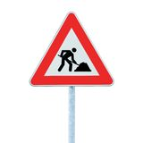 Road Works Ahead Warning Road Sign Pole isolated Royalty Free Stock Photo