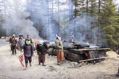 Road works in Bhutan Stock Photo