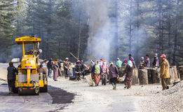 Road works in Bhutan Royalty Free Stock Photo