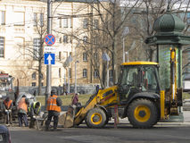 Road works in the city center. Road works in Kharkov 9th March 2015 royalty free stock image