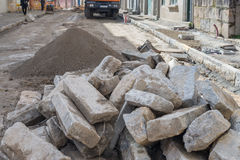 Road works on cobblestone laying Royalty Free Stock Image