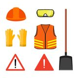 Road works conceptual set, isolated on white flat vector illustr. Ation. Safety head helmet, glasses, gloves, neon orange vest, shovel and warning signs Stock Photography