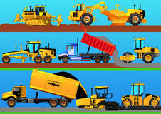 Road works. Detailed vector illustration. Road works. Road rollers, asphalt paver, bulldozer, grader, tractor scraper and truck constructing a road. Detailed Royalty Free Stock Images