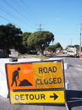 Road works detour sign in a residential street Royalty Free Stock Images
