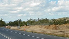 Road Works On Highway. Road works to construct another lane on a bien highway in Queensland Australia royalty free stock images