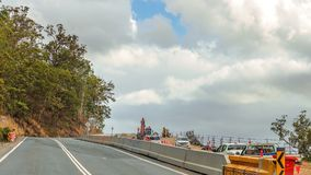 Road Works On Highway. Road works to construct another lane on a bien highway in Queensland Australia stock photo