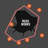 Road Works Image. Editable vector illustration with roadwork top view background. Automotive collection Royalty Free Stock Photos