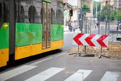 Road works impede tram driving in the city Royalty Free Stock Photography
