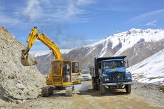 Road works at Khardung La pass one of the highest motorable road 5360 m Stock Images