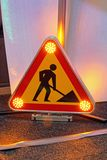 Road Works Led. Road Works Traffic Sign With Warning Led Lights royalty free stock image