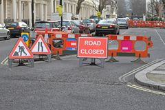 Road Works London. Road Works Closed Street Red Sign in London stock photos