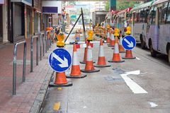 Road Works. One Lane Closed for Road Works Disruption Stock Photography