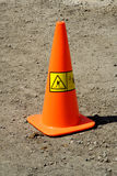 Road works orange warning cone Royalty Free Stock Photo