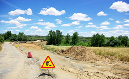 Road works at Portugal. Road works at south of Portugal stock photography