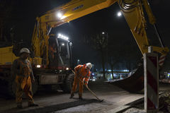 Road works, replacing asphalt pavement at night in Rotterdam, Th Royalty Free Stock Photography