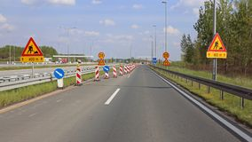 Road Works. At Highway Narrowing Lanes stock photo
