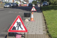 Road works. On a street in the UK royalty free stock photography
