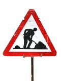 Road works sign. Isolated on white road works sign in Bern, Switzerland. Close-up object. Clipping path included royalty free stock images
