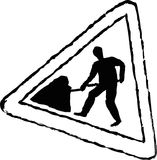 Road works sign. Rough sketchy drawing style illustration of a road works traffic sign Stock Photo