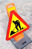 Road works sign Stock Photo