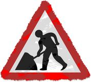 Road Works Sign. Grunge style Road Works sign isolated on white Royalty Free Stock Photo