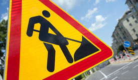 Road works sign closeup Royalty Free Stock Photography