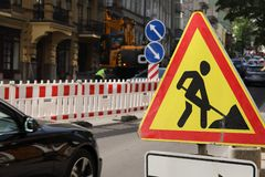 Road works sign for construction works in progress royalty free stock photo