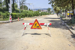 Road works sign Stock Images