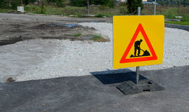 Road works sign for construction works of  Sofia, Bulgaria, Sept 18, 2014 Royalty Free Stock Image